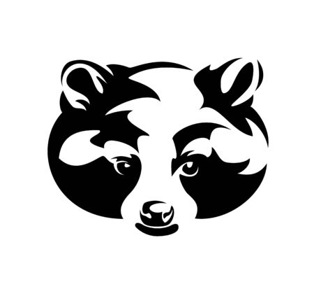 cute wild raccoon  front view head portrait - black and white design