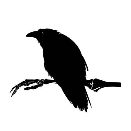 Siniestro pájaro cuervo sentado en la mano del esqueleto humano - Diseño en blanco y negro de brujería oscura de Halloween