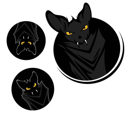 funny evil vampire bat peeking out of round black hole on white background - decorative Halloween design set