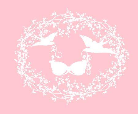 swallow birds holding bra lingerie among blooming sakura branches - spring season underwear shopping design Stock Illustratie