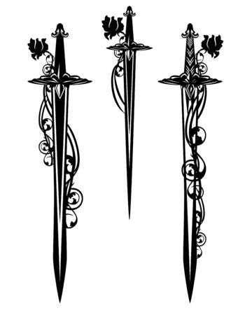 espada de batalla medieval y hojas de daga entrelazadas con flores rosas - conjunto de diseño en blanco y negro