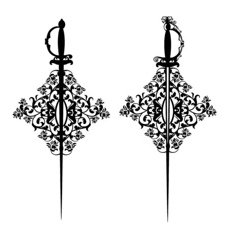 Elegant court sword among rose flowers ornament - heraldic fencing emblem black and white vector design Stock Illustratie