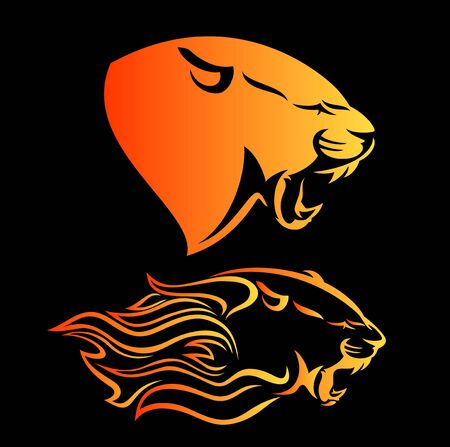Fierce panther head among fire flames