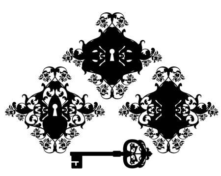 vintage style ornate keyhole and skeleton key - rose flowers ornate black and white vector silhouette design Иллюстрация