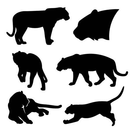 Wild tiger silhouette set