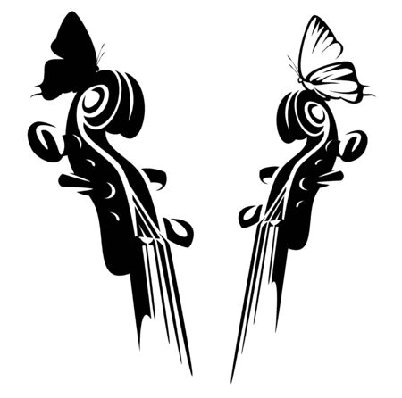 Violin musical instrument neck and sitting butterfly