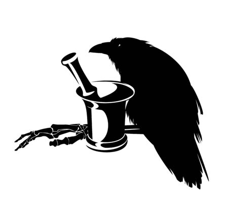 Witch raven bird with mortar and human skeleton hand