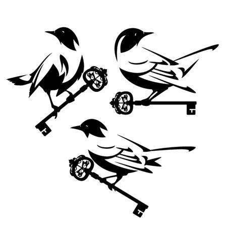 Small birds holding antique skeleton key