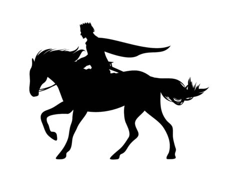 Medieval fairy tale prince riding horse Ilustrace