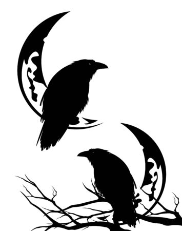 raven bird sitting on a tree branch with crescent moon outline - halloween scene black and white vector silhouette design set
