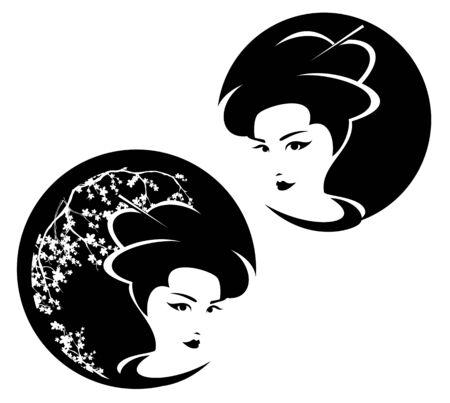 Beautiful Japanese geisha woman Stock Illustratie