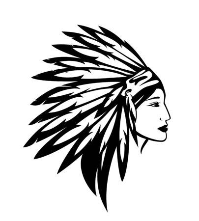 Belle femme indienne amérindienne portant warbonnet tribal à plumes