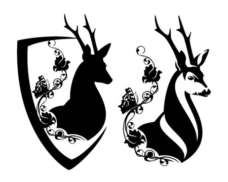 Elegant wild deer with rose flowers and butterfly inside heraldic shield Stock Illustratie