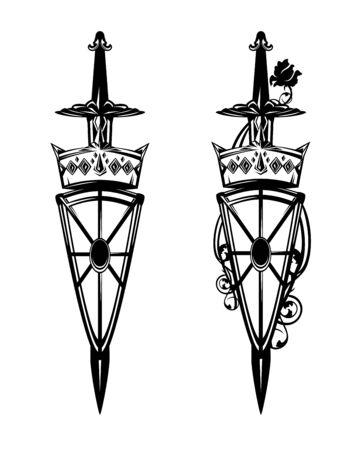 Medieval sword piercing crown and long heraldic shield