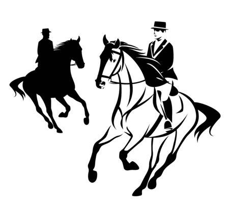 Uomo elegante a cavallo durante la competizione sportiva equestre Vettoriali
