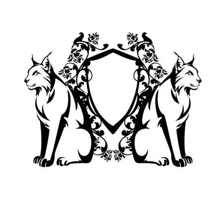 Wild lynx cat guarding heraldic shield among rose flowers Stock Illustratie