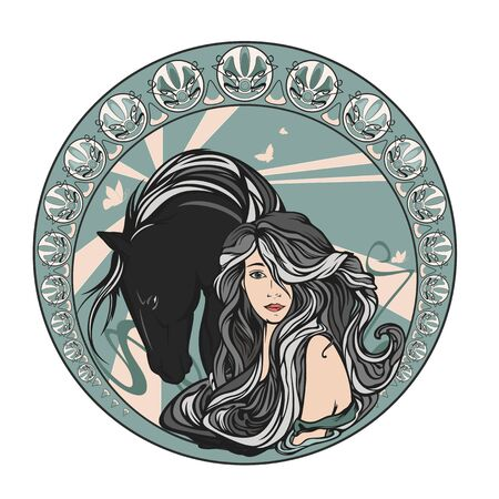 Beautiful young woman with long gorgeous hair and horse inside round medallion
