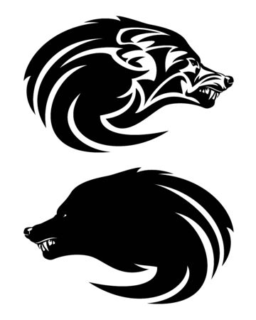 Furious snarling wolf profile head