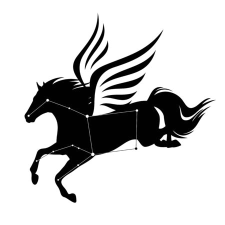 Flying pegasus horse and star constellation