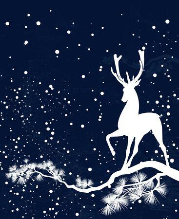 Elegant deer standing on pine tree branch among falling snow