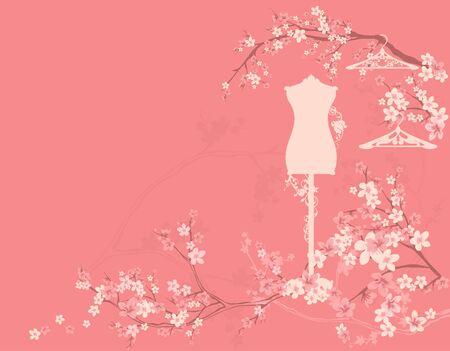 Mannequin and empty hangers among blooming sakura branches Stock Illustratie