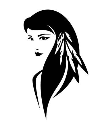 Hermosa joven india nativa americana con plumas en el pelo Ilustración de vector