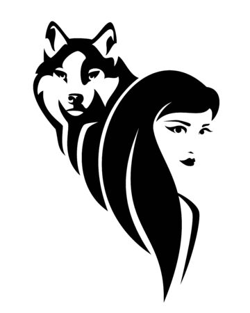 Beautiful young woman with long hair and wolf spirit animal
