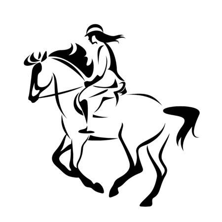 Vrouw rijdt paard in paardensportcompetitie