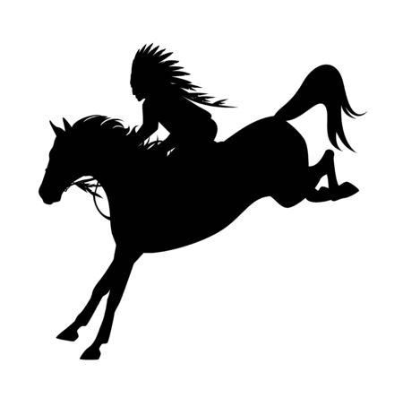 Native american tribal chief riding horse rushing forward