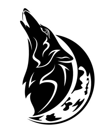 Howling wolf head and crescent moon black and white vector outline