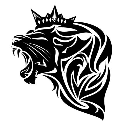 roaring king lion wearing royal crown - furious animal profile head black and white vector design