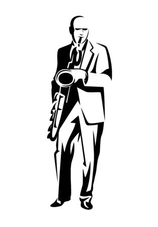Performing jazz man black and white vector outline Illusztráció