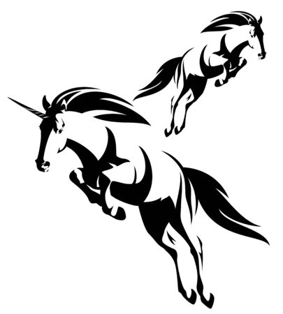 Jumping forward mythical unicorn and wild mustang horse black and white vector outline set