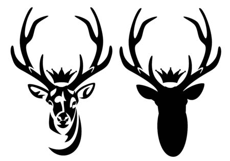 Wild deer stag with large antlers and royal crown
