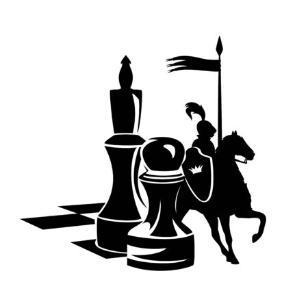 chess board with pawn and king figures and a real life royal knight riding a horse black and white vector design Archivio Fotografico - 139036394