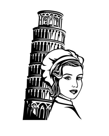 Beautiful woman chef wearing retro style hat near leaning tower of pisa