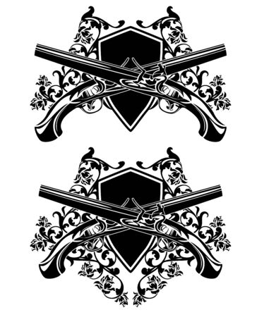 crossed antique dueling pistols and heraldic shield among rose flowers - black and white coat of arms design Vecteurs