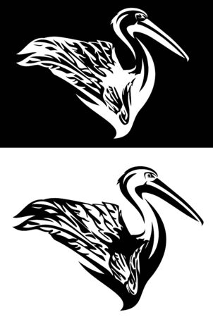 pelican bird with raised wing side view portrait - profile animal black and white outline set