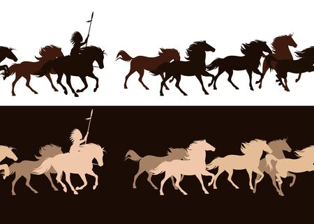chef tribal amérindien à cheval parmi un troupeau au galop - conception de frontière silhouette transparente horizontalement Vecteurs