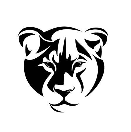lioness full face head portrait - wild african cat looking forward black and white vector design Ilustración de vector