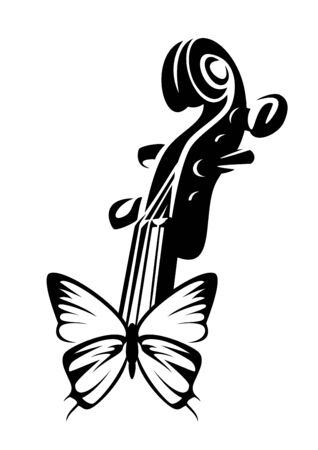 beautiful butterfly with open wings and violin neck - harmony of classical musical instrument and nature black and white vector design