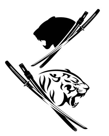 Furious tiger profile head and samurai katana sword black and white vector design set