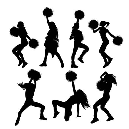 A group of teenage girls with pom-poms performing cheerleader dance