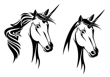 Unicorn horse head portrait on white