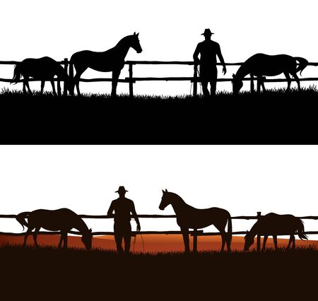 cowboy and horse herd behind wooden fence - grazing animals and rancher vector silhouette design Vettoriali