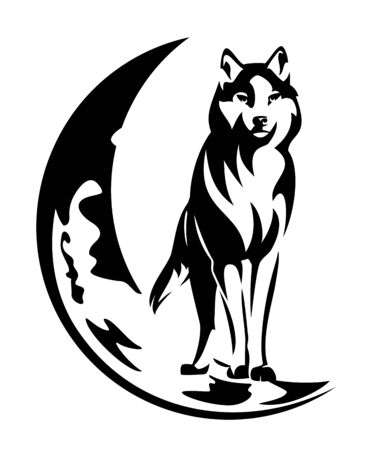Standing wolf and moon crescent on white  イラスト・ベクター素材