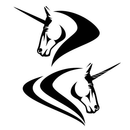 Fairy tale unicorn horse profile head - mythical creature black and white vector portrait