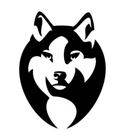 Wild wolf head portrait - animal looking forward fool face black and white vector outline Illustration