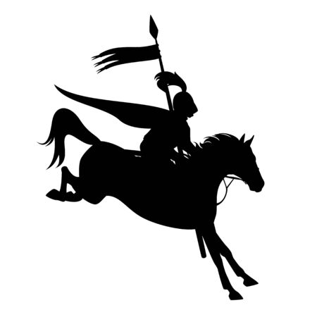 Fairy tale knight with banner riding horse jumping forward - black and white vector silhouette design