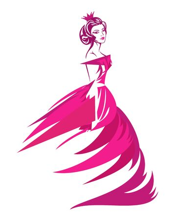 beautiful woman wearing royal crown and long evening gown - fairy tale princess or queen vector portrait